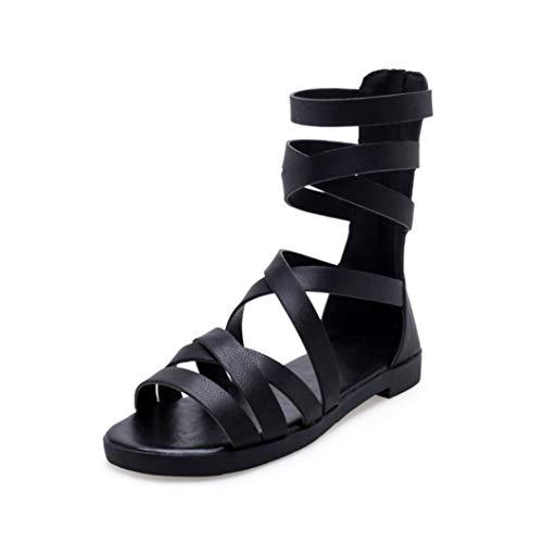 Classics Rom Damen Sandalen High Top Hohlkreuz Reißverschluss Flache Schuhe Offene Zehen Gladiator Pumps Knöchelriemen Strandschuhe