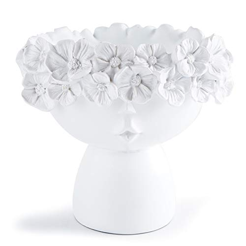 Binghai Cute Flower Wreath Girl Vases Crown Doll Head Container Planter Resin Crafts For Home Garden Ornament
