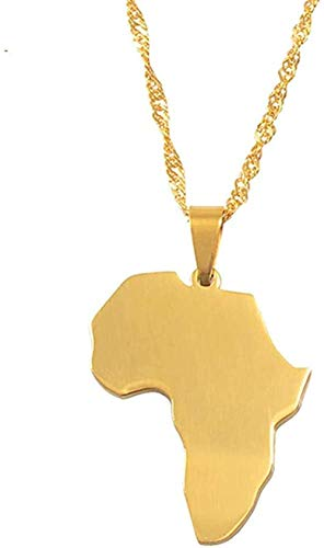 NC198 Collar Mapa de África Collar Colgante Oro Rosa/Color Dorado Joyería Marca Joyería de Moda Acero Inoxidable Regalos africanos