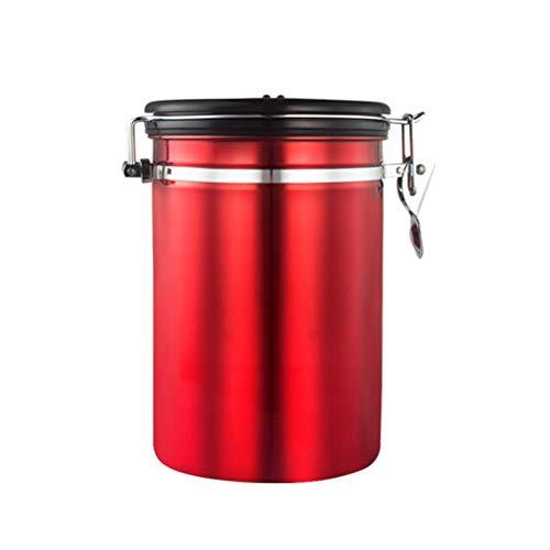 UPKOCH Teedose Kaffeedose Edelstahl luftdicht Lebensmittel Dose Kaffeebehälter Aromaverschluss Behälter für Kaffee Tee Kakao Kaffeebohnen Kaffeepulver Nüsse (Rot L)