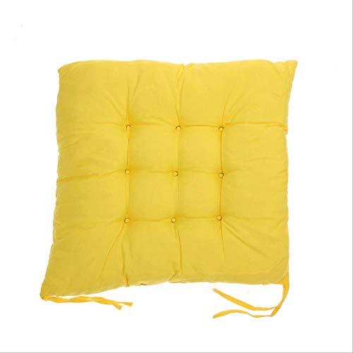 AINIYUE Sitzkissen für Büro, weiches bequemes Sitzkissen, Sommer-Innenministerium-Barhocker-Baumwollkissen, für Hauptdekor-quadratisches Kissen 340 x 340 x 50mm Gelb