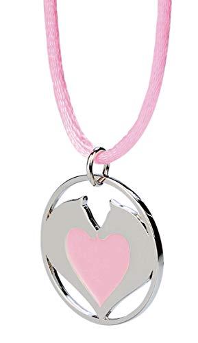 happyROSS Satin-Halskette Herzpferde, rosa | süße Halskette mit Pferd und Herz | Kinder, Mädchen, Pferdefreunde, Pferdeliebhaber