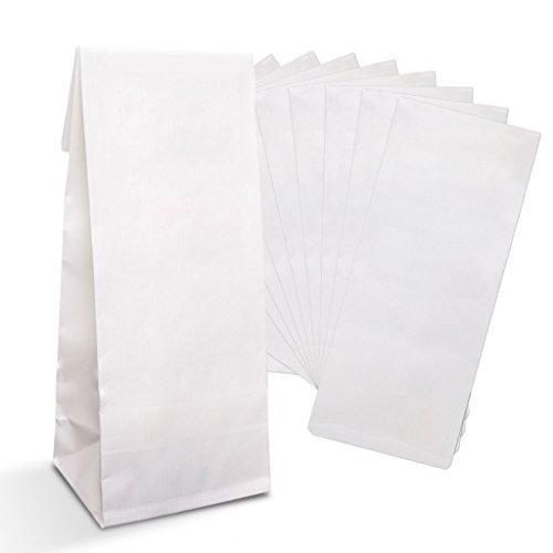 Logbuch-Verlag 25 kleine WEISSE Blockbodenbeutel Papierbeutel Lebensmittel Tüte Beutel mit Boden 7 x 4 x 20,5 cm INNEN FOLIERT Kekstüte Gebäcktüte
