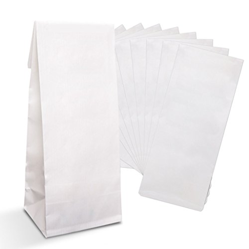 Logbuch-Verlag 100 petit sacs en papier blanc 7 x 4 x 20,5 cm couch papier double aliments thé Pâtisserie emballange cadeau d'invité