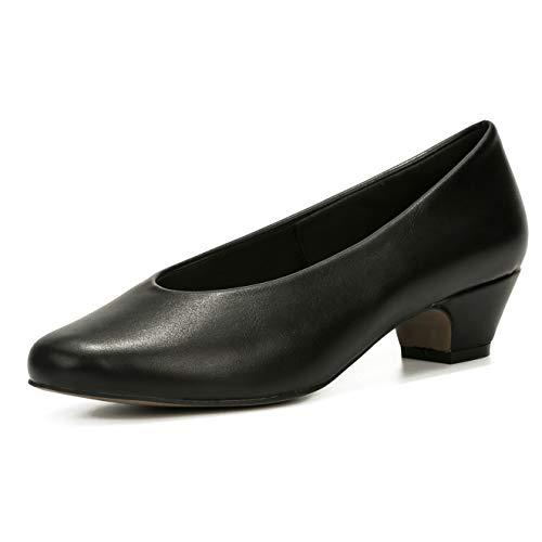 LIURUIJIA Women's Low Chunky Heels Pump Dress Shoes Party Closed Toe Comfortable Heel Casual Pumps for Women Black Matte PU-36(230/US5)