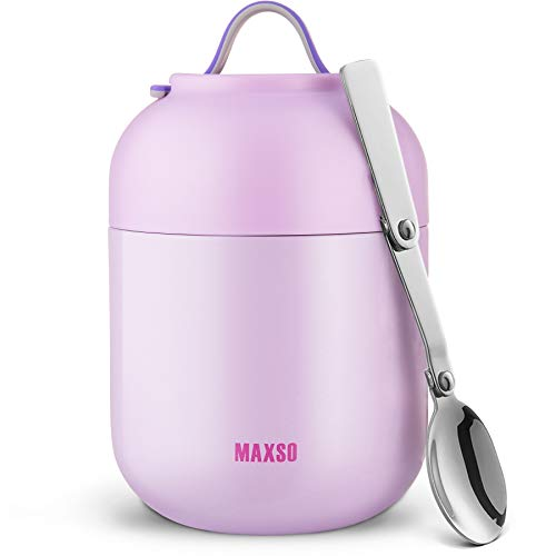 Termo Para Comida 500 & 700ml Logeeyar - Termo de sopa con aislamiento al vacío de acero inoxidable con cuchara plegable 500 & 700 ml rosa (púrpura, 700ml)