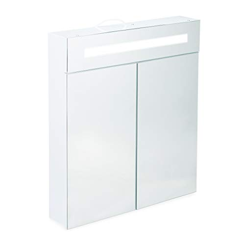 Relaxdays, weiß Spiegelschrank, 2 Türen, 3 Fächer, Steckdose, LED-Wandschrank, Stahl, H x B x T: 67 x 60 x 12 cm