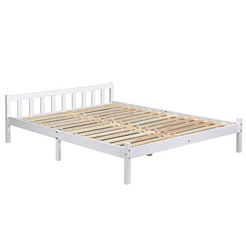 Estructura de la cama de pino macizo natural, resistente, color blanco, color transparente, blanco DOUBLE BED FRAME