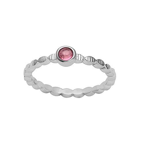 Shine Jewel Bisel de turmalina rosa engastado anillo de solitario de plata de ley 925 con piedras preciosas para mujer Q Redondo turmalina Blanco