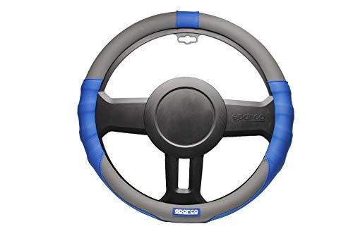 Sparco SPC1105 Funda de Volante Gris Coche Universal y ergonómica, Negro/Azul