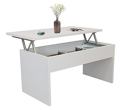DHOME Mesa Centro elevable Salon o Comedor, mesilla café, mesita Madera con acabdo Blanco Roble Cambrian (Blanco, Mod. 2 Patas)