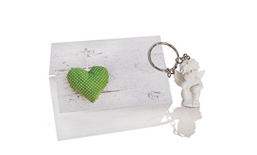 25 segnaposto a forma di cuore in verde a pois + piccolo angelo custode, portachiavi come bomboniera, matrimonio, comunione, battesimo, compleanno, give-away