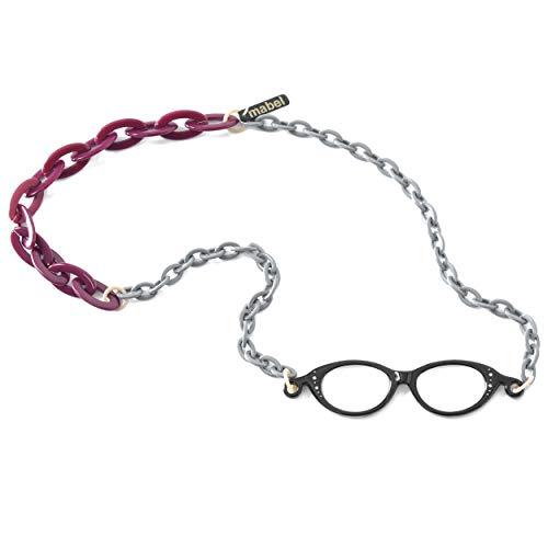 イタリア製 拡大鏡 ネックレス ペンダントルーペ 1.75倍 首掛け 眼鏡 おしゃれ 軽量 べっ甲 ブルー パープル 青 紫