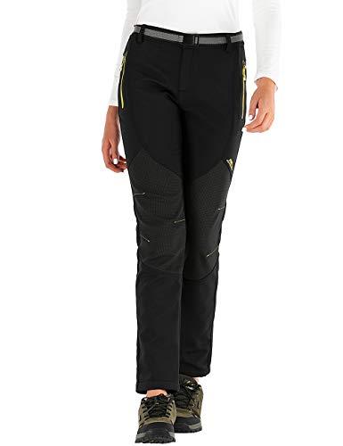 BenBoy Damen Wanderhose Wasserdicht Softshellhose Outdoorhose Winddicht Warm Gefüttert Winter Skihose Snowboardhose Trekkinghose,Schwarz Gelb,XL
