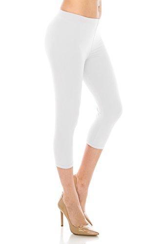 ALWAYS Women Basic Capri Leggings - Solid Buttery Premium Soft Stretch Yoga Workout Fitness Pants White Plus