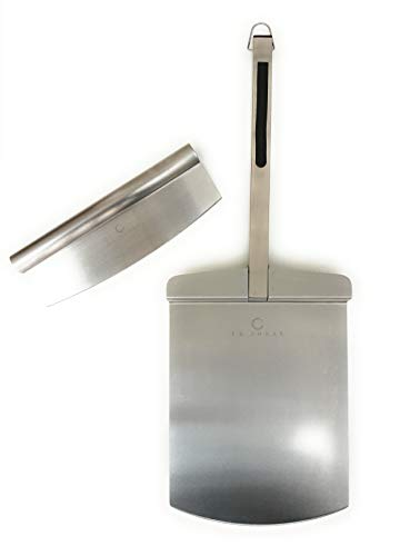 Pizza Paddle Peel with Long Handle for Ovens, Grills & BBQ, Comes with Bonus Pizza Cutter Rocker, Made from Steel Metal