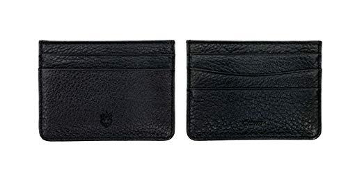 Crown & Tiger - Tarjetero para Tarjetas de Crédita de Cuero - para 5 Tarjetas y con Compartimento para Billetes Plano - Slim Design (Black)