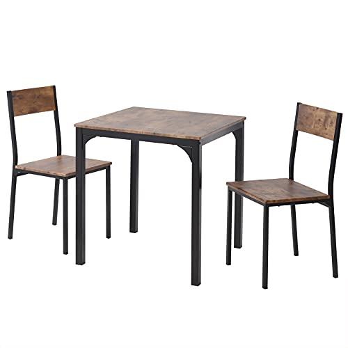 LIZONGFQ - Set di 3 sedie e tavolo da pranzo per la casa, la cucina, il soggiorno, con struttura in legno in acciaio stile industriale, stile rétro cucina tavolo da pranzo (marrone scuro)