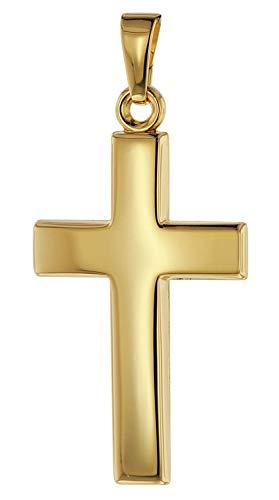 trendor Kreuz-Anhänger 26 mm Gold 585/14 Karat Damen und Herren Goldanhänger, modischer Kreuzanhänger, Geschenkidee, eleganter Schmuck aus Echtgold 75366