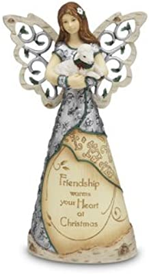 Holiday Elements by Pavilion Friendship Angel Figurine Holding Lamb, 7-1/2-Inch