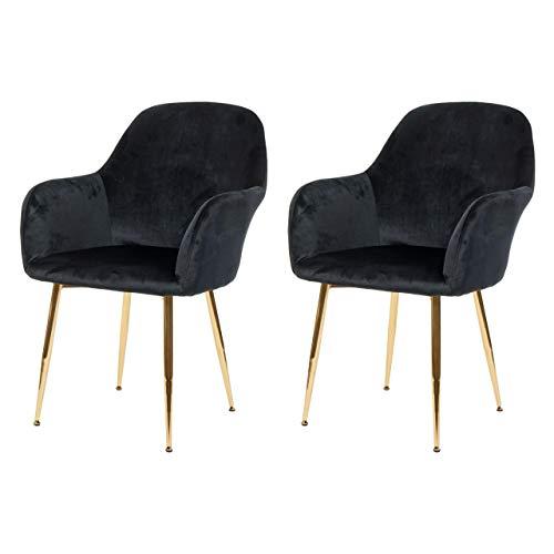 Preisvergleich Produktbild Mendler 2X Esszimmerstuhl HWC-F18,  Stuhl Küchenstuhl,  Retro Design - Samt schwarz,  goldene Beine