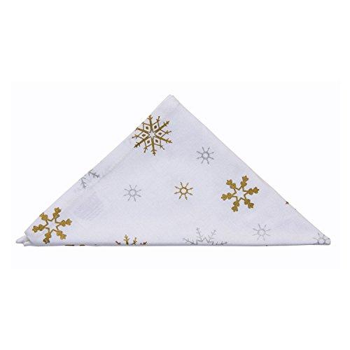 Homescapes Weihnachtliches Servietten Set 4 teilig Schneeflocken 45 x 45 cm aus 100% reiner Baumwolle, Stoffservietten weiß gold