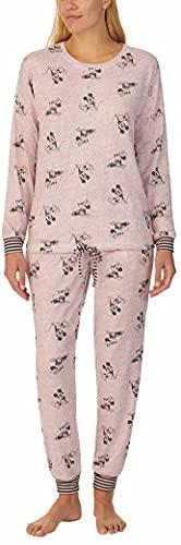 Disney Womens 2 Piece Cozy Pajama Set (Mauve Mickey and Minne, X-Large)