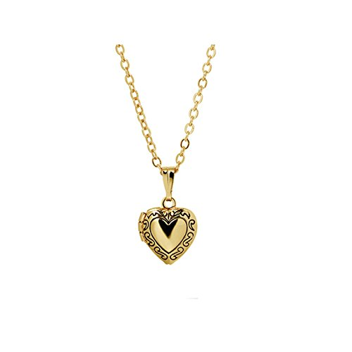 Aooaz Schmuck Edelstahl Foto Medaillon zum Öffnen Photo Bilder Amulett Herz Medaillon Anhänger Halskette Kette Gold Kette 40cm