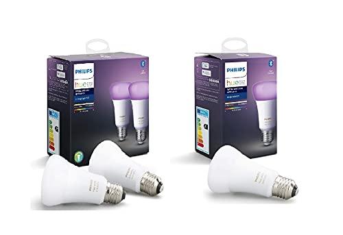 Philips Hue White and Color Ambiance Pack 3 bombillas LED inteligentes E27, luz blanca y de colores, compatible con Bluetooth y Zigbee (Puente Hue opcional), funciona con Alexa y Google Home