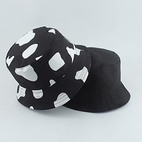 Nuevo Sombrero con Estampado de Moda, Sombrero de Cubo Negro y Blanco, Gorras de Pescador Reversibles, Sombreros de Verano para Mujer, Gorras-New Cow Black