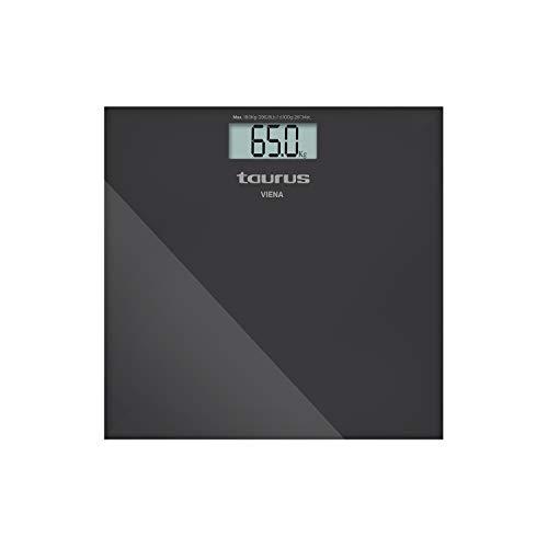 Taurus Viena Báscula de baño digital, diseño slim, 28 x 28 x 2 cm, kg/lb, pantalla grande, fácil lectura, máximo 180 kg/mínimo 3 kg, color gris metálico