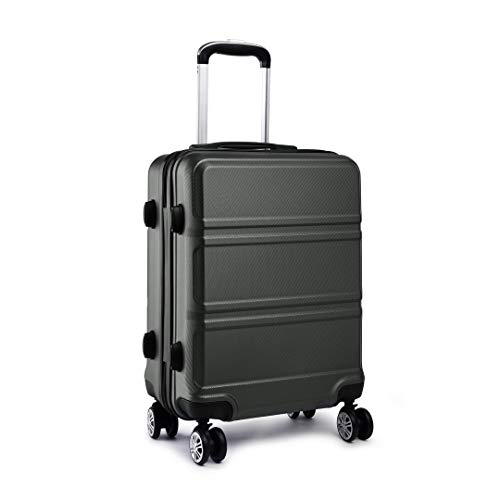 Kono Fashion Hand Luggage Lightweight ABS Hard Shell Trolley Travel Suitcase with 4 Wheels Cabin Carry-on Suitcases (20', Grey)