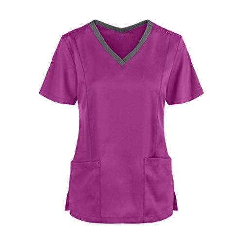WERVOT Damen Arbeitskleidung Uniformen, Casual Einfarbig Mediznischer Kurzarm V-Ausschnitt Schlupfkasack Damen Übergröße Kasack Pflege mit Taschen, Berufskleidung Nurse Krankenpfleger(B Lila,XXL)