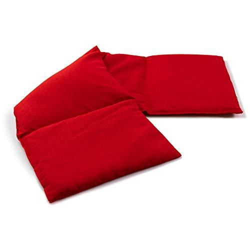 Cuscino in velluto a 4 camere da letto, 20 x 60 cm, cuscino termico e freddo – 60 x 20 cm, semi di lino, rosso ciliegia