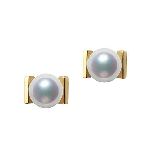 KnSam 18K Oro Amarillo Pendiente, Arete Rectángulo Redondo con Perla, Perla Blanco, Color Oro