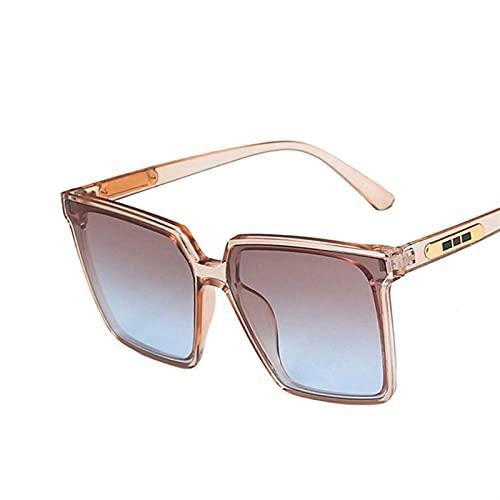 Vintage Cuadrado de Gafas de Sol de Gran tamaño Mujeres Hombres degradados Transparentes Gafas de Sol Grandes Marco Gafas UV400 (Color : 4, Size : F)