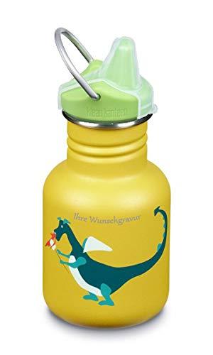 TR Klean Kanteen Kinder-Trinkflasche Sippy grün (355 ml), Dragon Snack, mit Namensgravur