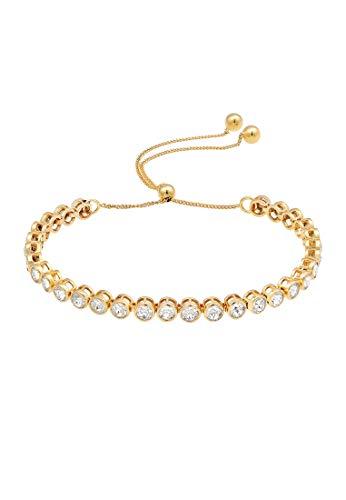 Elli PREMIUM Armband Damen Tennisarmband Ball mit Kristallen in 925 Sterling Silber vergoldet