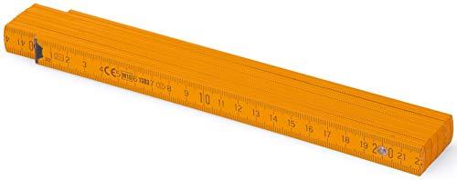 Metrie™ BL52 Holz Zollstock/Zollstöcke  2m langer Gliedermaßstab, Maßstab Meterstab mit Duplex-Teilung - Orange PAN1375