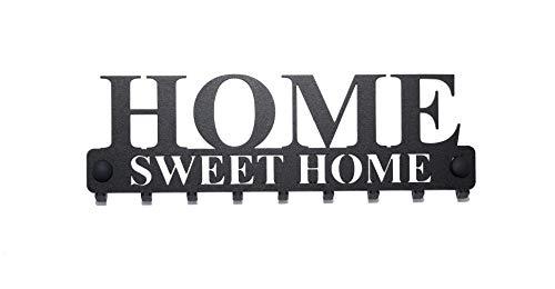 """tradeX Pannello appendichiavi da Parete """"Home Sweet Home"""" in Acciaio Color Nero con 9 Ganci – Appendiabiti da Parete per riporre Giacche, Chiavi o Asciugamani – Include Viti per Montaggio."""