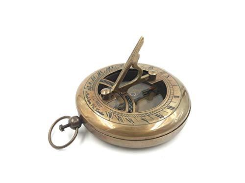 Vimal Nautical Kompass mit Sonnenuhr, 7,6 cm, Messing, Antik-Finish, zum Öffnen drücken, Geschenkartikel
