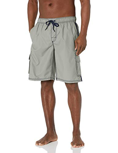 Kanu Surf Men's Barracuda Swim Trunks (Regular & Extended Sizes), Silver, Large