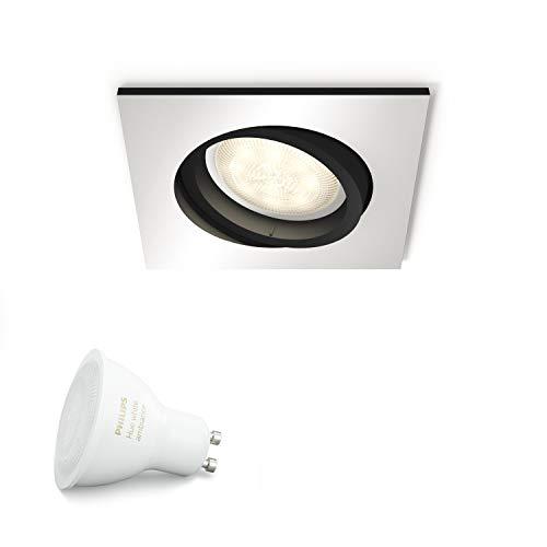 Philips Hue White Ambiance LED Einbauspot Milliskin, Erweiterung für alle Hue Starter Sets, alle Weißschattierungen, steuerbar via App, aluminium, eckig, kompatibel mit Amazon Alexa (Echo, Echo Dot)