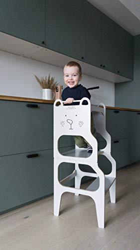 Learning Tower Kinder I Lernturm zu Tisch und Stuhl Wandelbar I Montessori Küchenhelfer I Bio Echt-Holz (Schwarz)