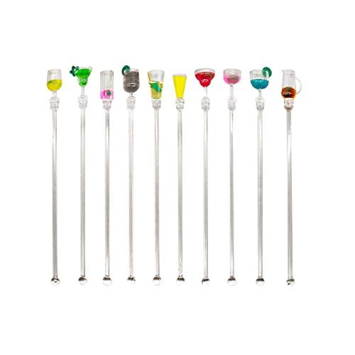 Set di 10 bastoncini per cocktail in acrilico, riutilizzabili, colorati, con motivo a forma di bicchiere di vino, per bevande e bevande, decorazioni per bar, caffè, matrimoni, feste di compleanno