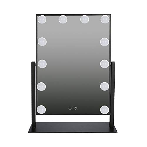 Vanity - Espejo de mesa con LED, USB, estilo Hollywood, espejo regulable con control táctil, rotación de 360 grados, cristal transparente, UE 100-240 V