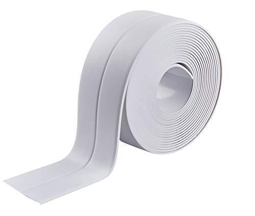 Caulk Strip Self Adhesive Tape PVC Sealing Strip Flexible Caulking Tape Waterproo Trim Strips for Bathtub Kitchen Toilet and Wall Corner3.8cm (38 mm 1 Pack, White) (white-1pack)