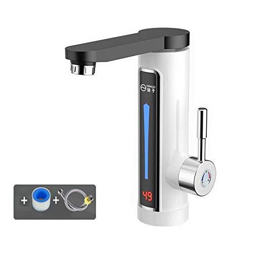 ConPush 3300W LED Elektrisch Durchlauferhitzer Wasserhahn Sofort Warm Armatur Bad/Küche (Weiß)