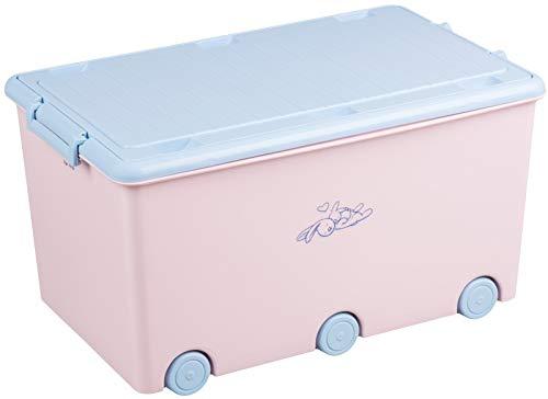 Tega Baby Little Bunnies Spielzeugkiste mit Deckel und Rollen, rosa KR-010-104