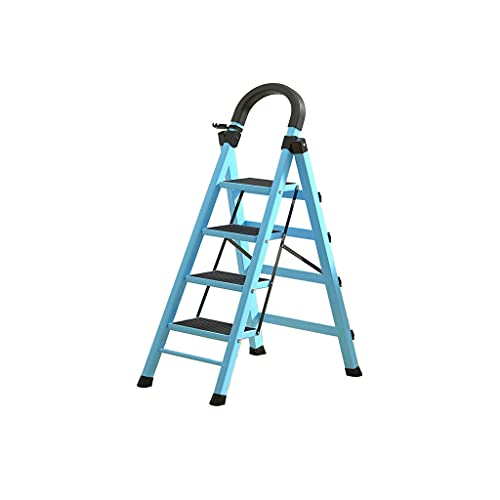 Step Ladder 4 Step Pieghevole, Step Sgabello Pieghevole Scala per la casa per Interni ed Esterni con Ladder a Pedale Robusto e Ampio Antiscivolo (Color : Blue)